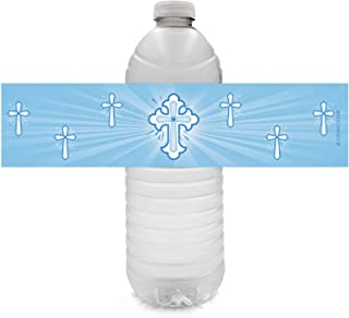 Blue Baptism Party Water Bottle Labels for Boy - Religious Cross - 24 Stickers