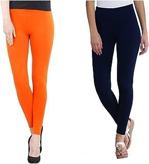 FashGlam Women Premium Ankle Length Leggings Combo - Orange,Navy Blue