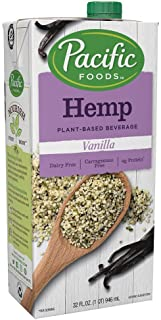 Pacific Foods Hemp Vanilla Plant-Based Beverage, 32 Fl Oz (Pack of 12)