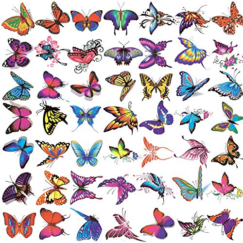 50 Sheets Butterfly Temporary Tattoos for Women Girls Kids - Colorful Body Art 3D Fake Tattoos, Butterfly Party Favors