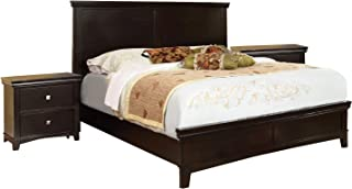 Furniture of America Pasha 3-Piece Queen Platform Bedroom Set with Two-Nightstands, Espresso Finish