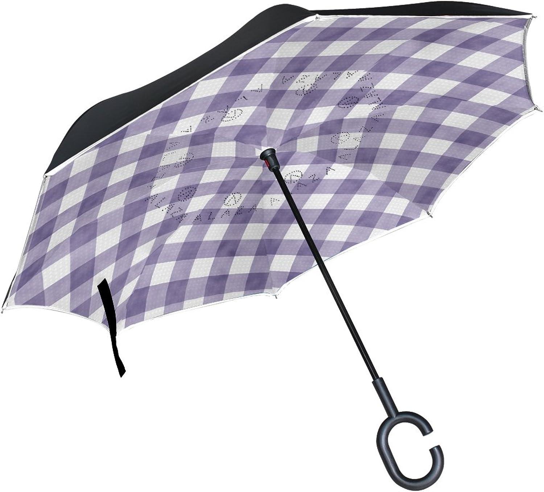 Mydaily Double Layer Ingreened Umbrella Cars Reverse Umbrella Purple Gingham Plaid Checkered Stripe, Windproof UV Proof Travel Outdoor Umbrella