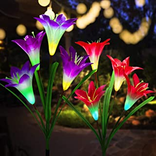 Outdoor Solar Garden Stake Lights 2 Pack Upgraded Solar Flower Lights with Lily Flower,Multi-Color Changing LED Solar Powered Lights for Patio,Yard Decorations, Bigger Flower and Wider Solar Panel