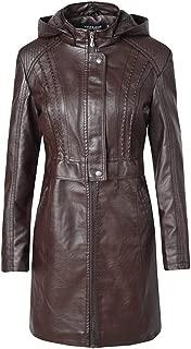 DISSA P1922 Women Faux Leather Long Overcoat Slim Coat Leather Jacket