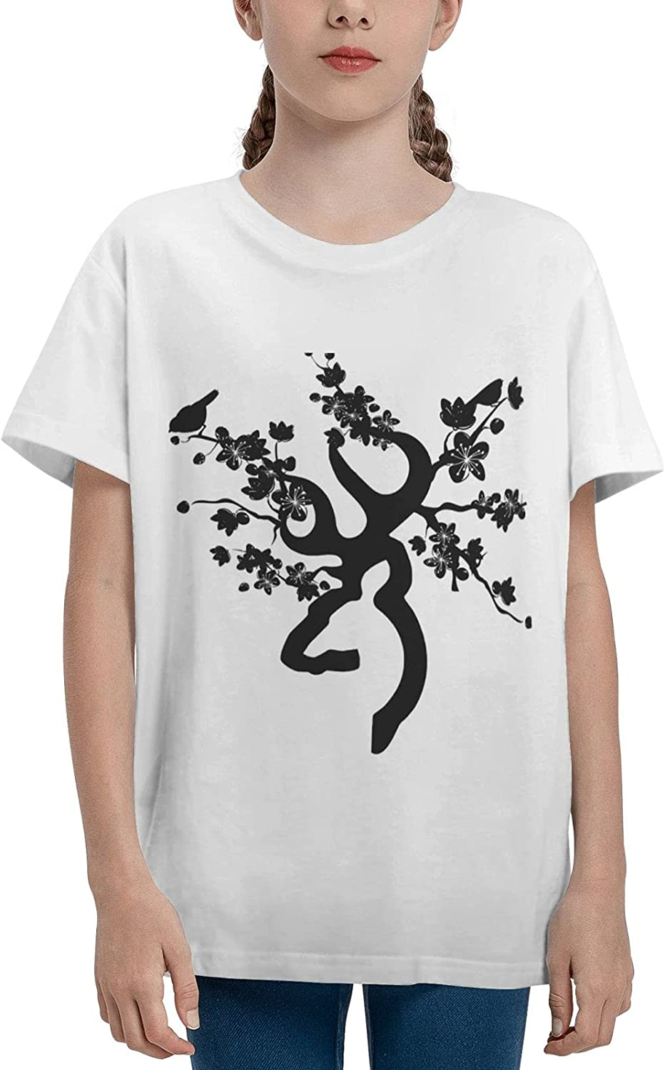 Kids T Shirt Browning Deer Youth T-Shirt Short Sleeve Cotton Tee Shirts Tops for Boys and Girls