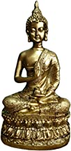 Flameer Seated Buddha Statue Buddhism Thai Meditating Praying Figurines Handmade Resin Sculpture Ornament for Tabletop Liv...