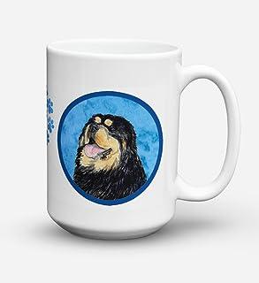 Caroline's Treasures SS4788-BU-CM15 Tibetan Mastiff Microwavable Ceramic Coffee Mug, 15 oz, Multicolor