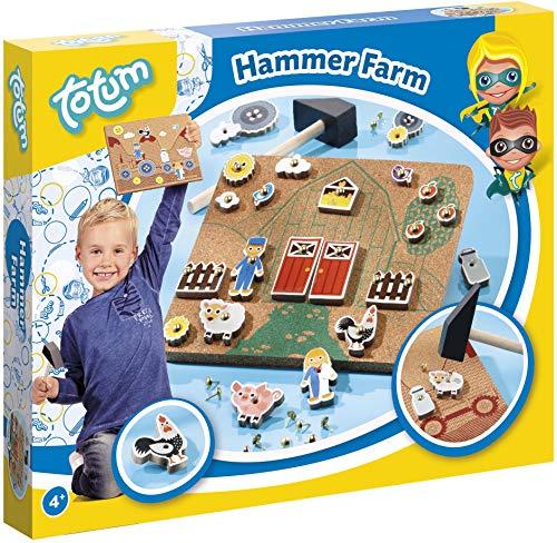 Totum Hammerspiel Kreativ-Set: mit Bauernhofvorlagen, Figuren, Nägel und Holzhammer
