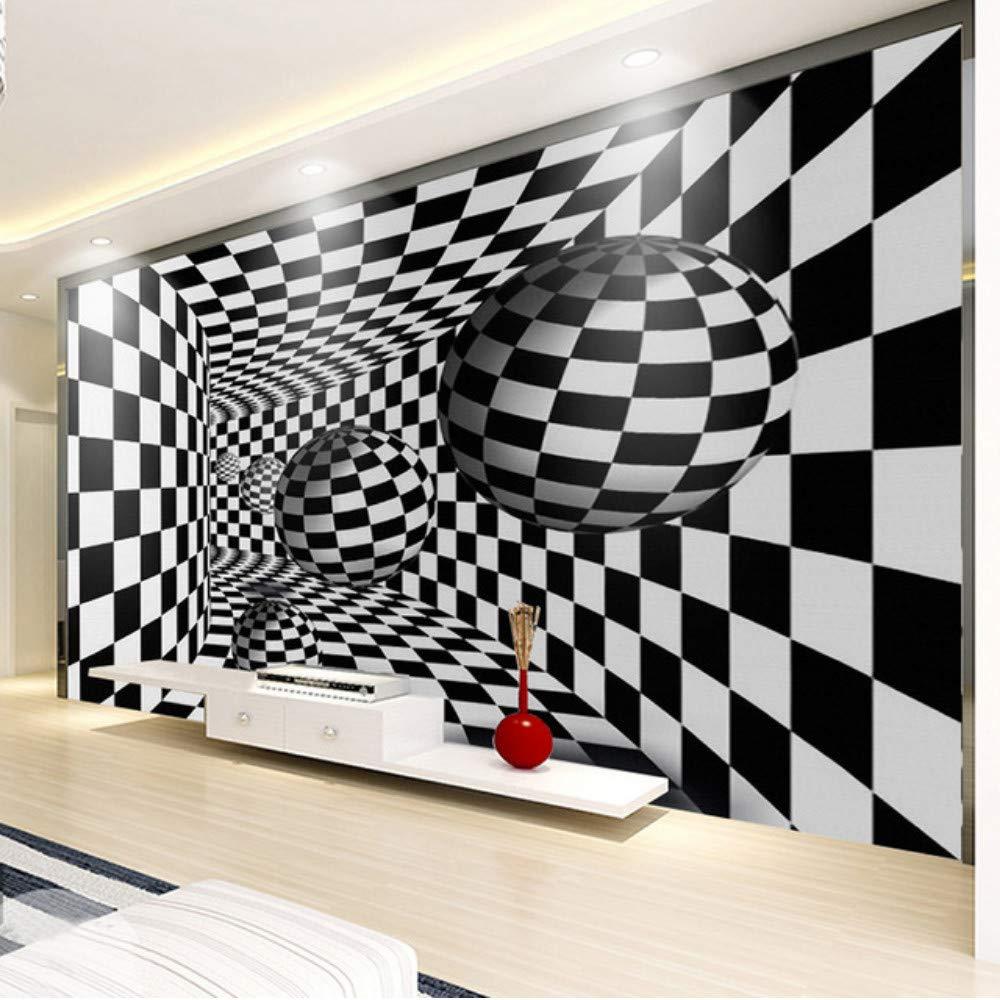 Amazon Xbwy 現代の抽象白黒3d立体トンネルアート壁紙リビングルームテレビの背景壁の壁画 家の装飾3d 150x1cm 壁紙