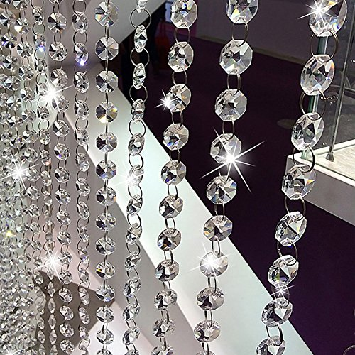 KIPETTO 33FT Crystal Acrylic Gems Bead Strands Hanging Clear Diamond Chain for Wedding Birthday Party Decorations