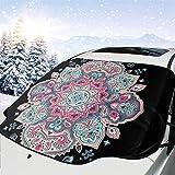 Bearget Adorno étnico Mandala Henna estilo tatuaje cubierta de nieve para coche, nieve, heladas, parasol, parasol impermeable para invierno, coche, camión, furgoneta y SUV, personalizado
