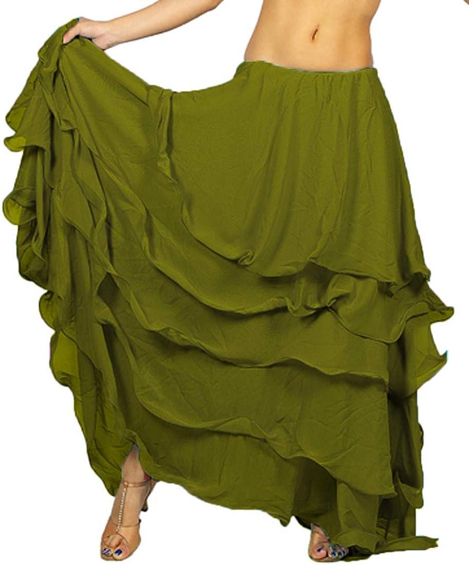 Meek Mercery Tribal Dance Skirt 5 Layer Skirt Women Long Belly Dancing Skirt One Size C25