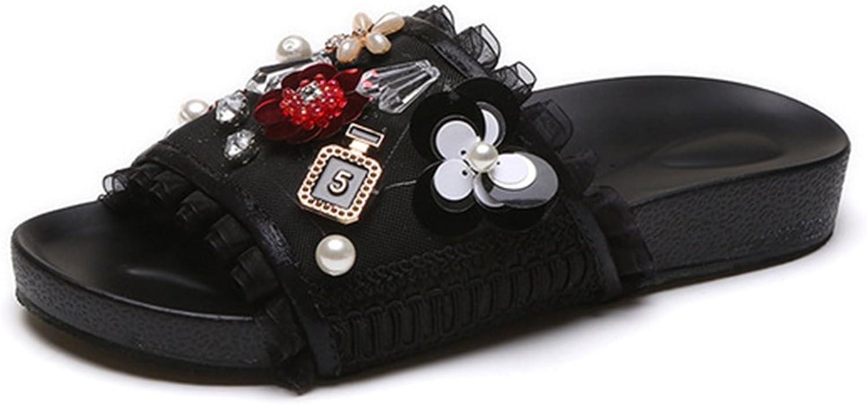 Mageed New Summer Woman Mesh String Bead Rhinestone Flip Flops shoes Female Flat Sandals