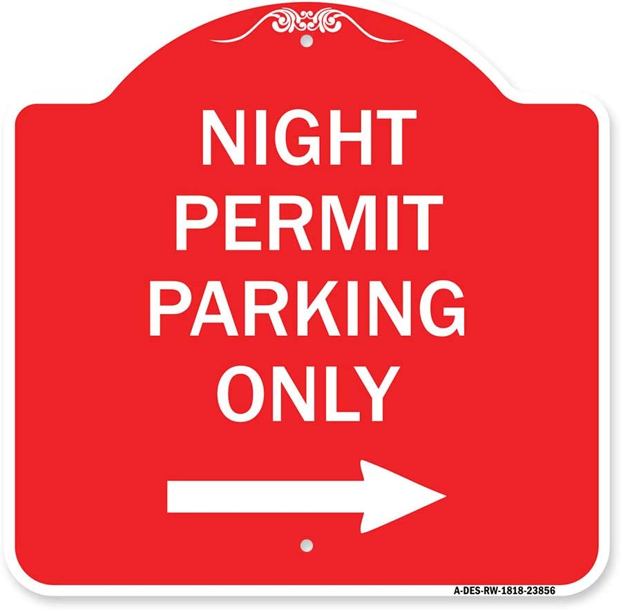 SignMission Designer Series Sign - Permit Parking Wi Night Max A surprise price is realized 56% OFF Only