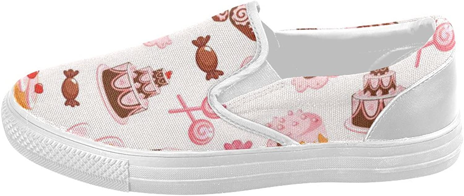 HUANGDAISY shoes Sweet Cake Candy Donuts Slip-on Canvas Loafer for Women