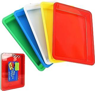 Hurricom Lot de 5 plateaux en plastique multicolores pour loisirs créatifs, projets de bricolage, peinture, perles, fourni...