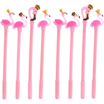 Maydahui 8PCS Flamingo Rollerball Pen Cute Cartoon Animal Pens Pretty Crown Design Black Gel Ink for Party Favors Office School Student Supplies