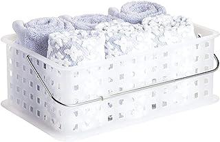 InterDesign Basic corbeille rangement, panier salle de bain moyen en plastique pour accessoires de douche et soins, transp...