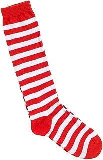 EBTOYS Stripe Knee Socks for Clown Circus Fancy Dress Cosplay Socks (Red & White)