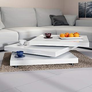 Deuba Mesa de Centro Moderna y Blanca  Mesita lacada Brillante 60 x 60 cm bandejas giratorias 360° Comedor salón Oficina