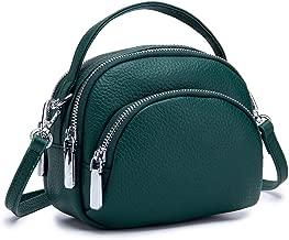 حقيبة نسائية صغيرة مصنوعة من الجلد الطبيعي حقيبة حول الجسم بسحاب ومحفظة للمكياج حقيبة الكتف للسيدات