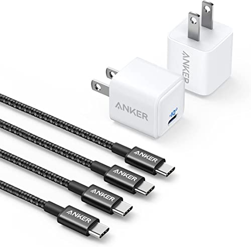 wholesale Anker [2 Pack] New Nylon USB C to USB C Cable (6ft 60W) and [2-Pack] Nano Charger 20W sale PIQ 3.0 Durable 2021 Compact Fast Charger online sale