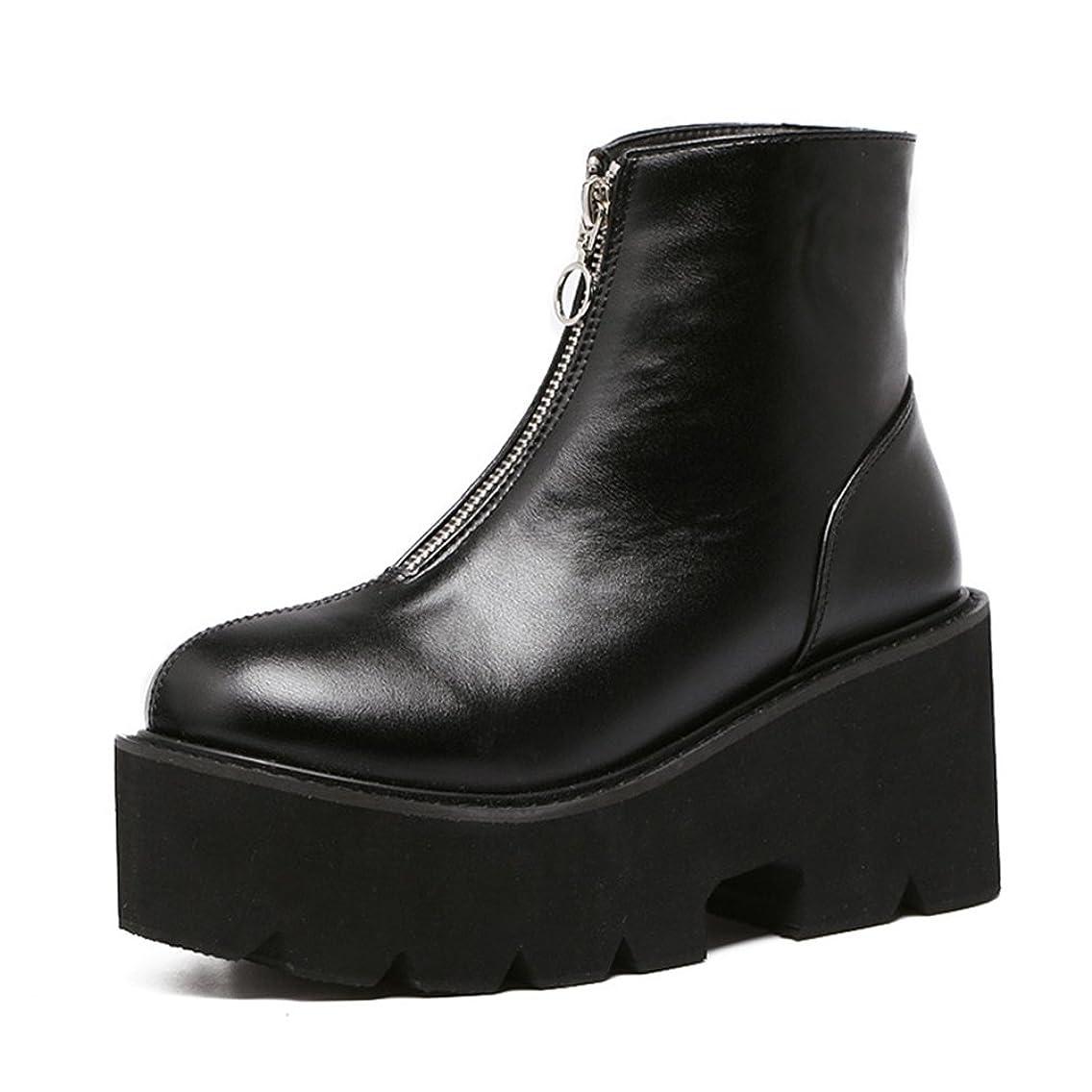 攻撃追放する経済[サニーサニー] レディース ショートブーツ ボア付き 防寒 スノーブーツ 厚底 ムートンブーツ 防滑 フロントファスナー 前厚 可愛い オシャレ 歩きやすい 快適 あったか 柔らかい 綿靴 雪靴 通勤 通学 ブラック