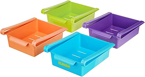 Flipzon Refrigerator Storage Rack 4 Pack Multi Purpose Multicolor Refrigerator Classified Storage Box