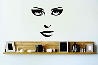 Design with Vinyl Cryst 158 191 Black Womens Face Eyes Nose Mouth Vinyl Wall Decal Art Home Decor Bedroom Living Room, 20 ...