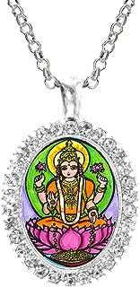 Goddess Lakshmi of Wealth Fortune Cz Crystal Silver Necklace Pendant