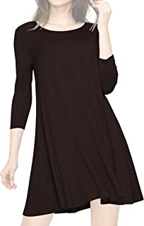 Lock and Love Women's S~3XL Round Neck 3/4 Sleeves Swing Flared Tunic Dress Longline Top - Made in USA
