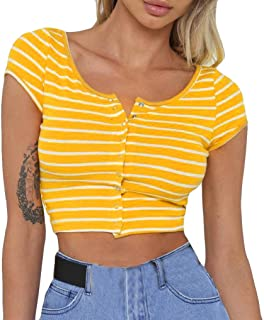 TUDUZ Women's Crop Top Stripe Short T Shirt Short Sleeve Buttons Tee Tops Slim Club Blouse X-Large Yellow