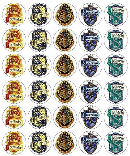 Decoraciones comestibles con diseño de emblemas de Harry Potter, oblea de papel, para tartas y cupcakes de cumpleaños, 30 unidades