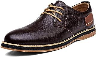 Kirabon Zapatos Casuales de Cuero para Hombre Zapatos de Hombre de Cuero con Top bajo y Zapatos de Cuero (Color : Negro, Size : 41)