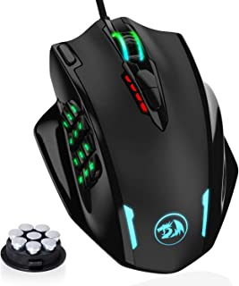 Redragon M908 Impact RGB LED MMO Mouse with Side Buttons Laser Wired Gaming Mouse with 12,400DPI, High Precision, 19 Programmable Mouse Buttons