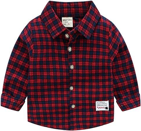 Niños Bebé Camisa de Cuadros Manga Larga Camiseta Algodón Shirt Tops Blusa Rojos 4-5 Años