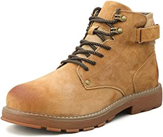 RongAi Chen Combat Boots for Men Outdoor High Top Shoes Round Toe Lace up Genuine Leather Casual Burnished Style Back Hook&Loop Strap ANI-Slip (Color : Golden, Size : 8.5 UK)