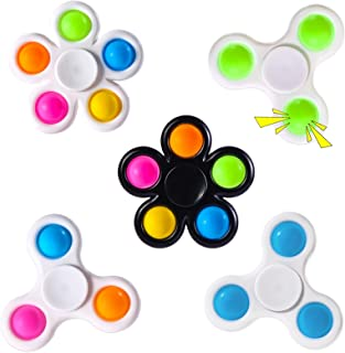 wellvo Pop Fidget Spinners 5 Pack,Party Favors Push Bubbles Sensory Toy for Kids Adults Simple Fidget Toy with Bubble Fidg...