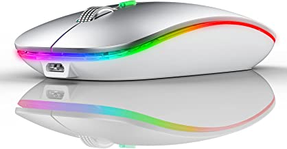 Wireless Mouse, Rechargeable Wireless Mouse for MacBook Air (Bluetooth 5.1 + USB) 2.4GHz Portable Optical Silent Office Mo...