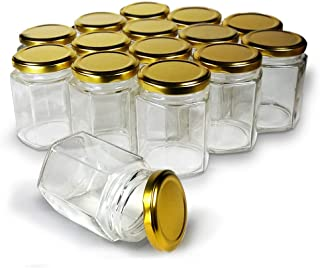 Hexagon Jars Gold Lid (15pcs, 4.0 oz) Hexagon Glass Jars with Gold Plastisol Lined Lids for Jam Honey Jelly Wedding Favors Baby Shower Favors Baby Food DIY Magnetic Spice Jars Crafts Canning Jars