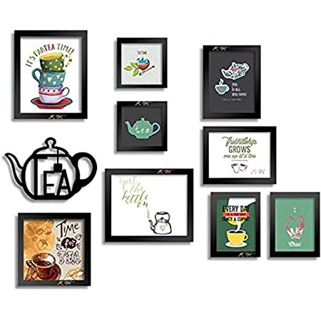 Art Street Framed Posters Set of I Love Tea Posters with MDF Tea Pot Plaque Best Suit for Home Decor and Kitchen.