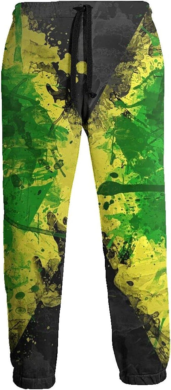 Mens Elastic Waist Sweatpants Jamaica Flag Color Joggers Sweatpants for Gym Training Sport Pants