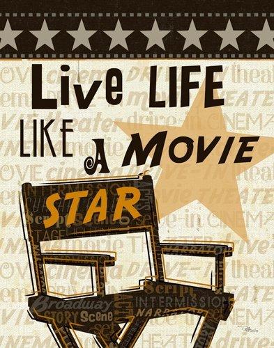 Leinwandbild Pela Studio - Live Life Like a Movie Star - 60 x 76.2cm - Premiumqualität - Grafik, Regiestuhl, Kinobesuch, Kinofilm, Motivation, Theater, Treppenhaus, Wohnzimme.. - MADE IN GERMANY - ART-GALERIE-SHOPde