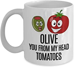 One Year Anniversary Gifts For Boyfriend - Olive You From My Head Tomatoes Coffee Mug 11 oz. - 1st, Husband, Ideas, Wedding, Celebration, Present