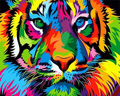 WISKALON DIY Pintar por Numeros Kit para Adultos Principiantes, Pintura por números sobre Lienzo DIY Pintura acrílica 16 * 20 Pulgadas - Tigre Colorido Sin Marco