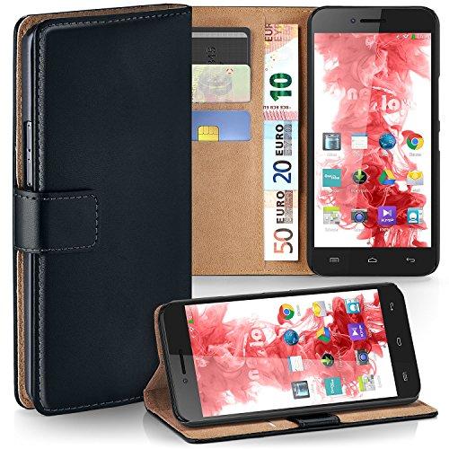MoEx Premium Book-Hülle Handytasche passend für Wiko Highway Pure | Handyhülle mit Kartenfach & Ständer - 360 Grad Schutz Handy Tasche, Schwarz