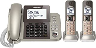 PANASONIC Corded / Cordless Phone System with Answering Machine and One Touch Call Blocking – 2 Handsets - KX-TGF352N (Cha...
