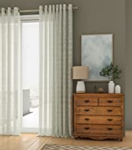 Curtain Label Sheer Elegance Polyester Blend Solid Eyelet 3.5 X 5 ft Curtains (Ivory) - Set of 2