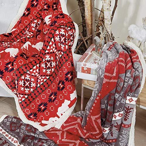 EASY HOME Plaid Coperta Natalizia Doppio Strato con Retro AGNELLATO. Idea Regalo Natale. MOD Bear Orso Bianco con Sfondo Rosso