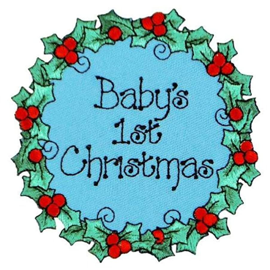 Expo Iron-on Embroidered Applique Patches, BaZooples Baby's 1st Christmas
